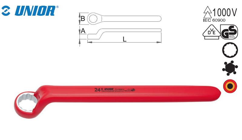 Cheie inelara simpla izolata in dublu-strat 1000V Unior, 15 mm